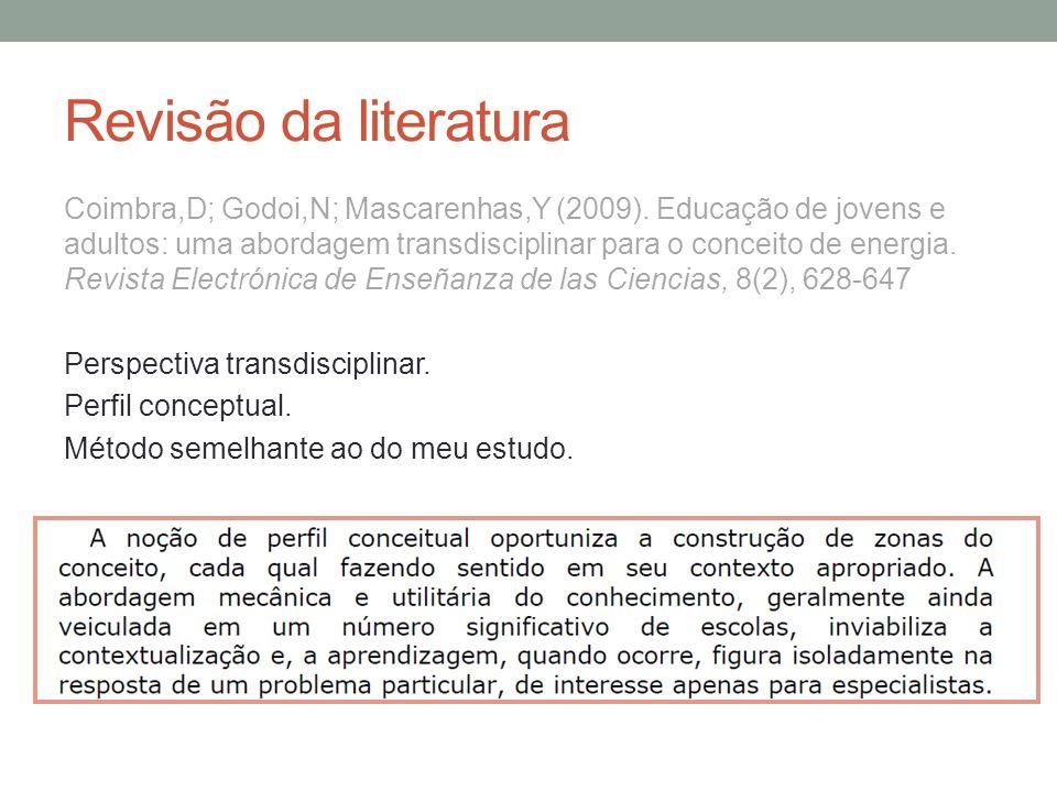 Revisão da literatura Coimbra,D; Godoi,N; Mascarenhas,Y (2009). Educação de jovens e adultos: uma abordagem transdisciplinar para o conceito de energi