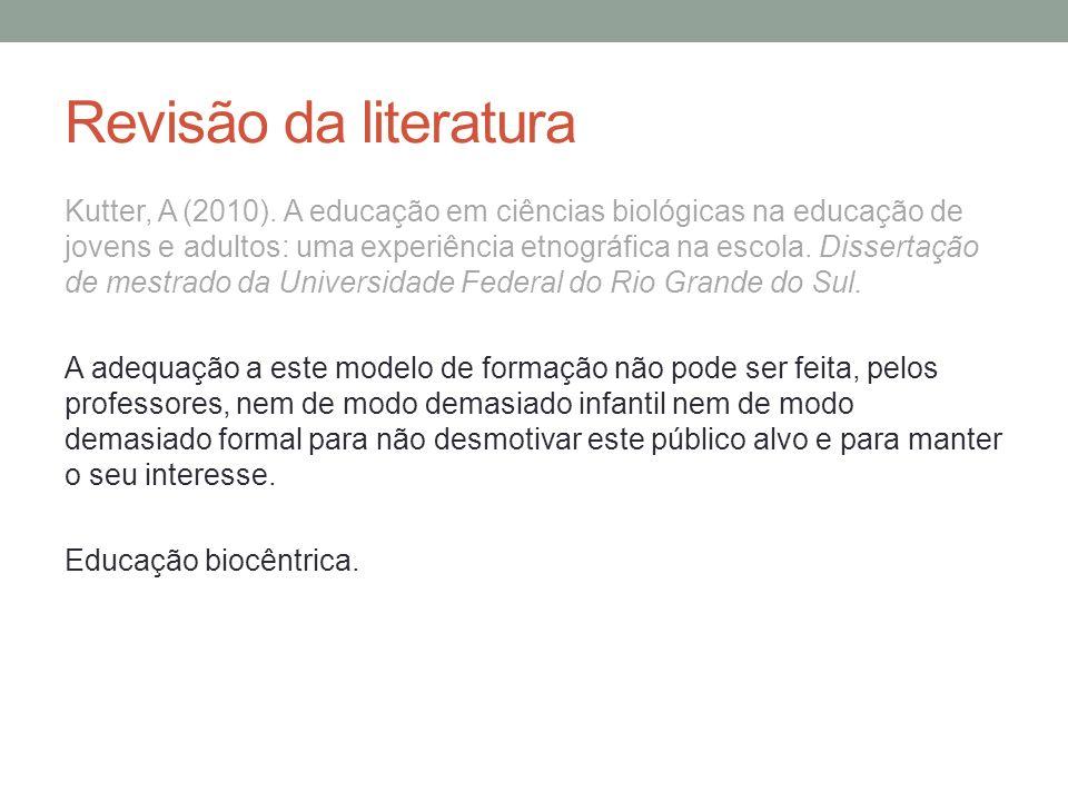 Revisão da literatura Kutter, A (2010).