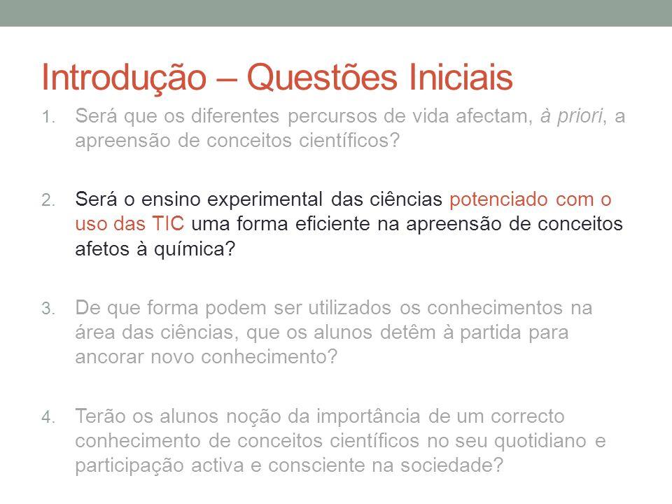 Introdução – Questões Iniciais 1. Será que os diferentes percursos de vida afectam, à priori, a apreensão de conceitos científicos? 2. Será o ensino e