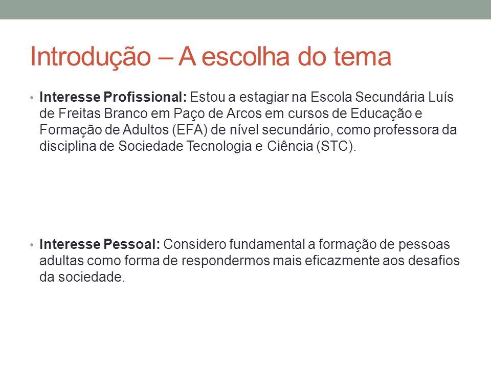 Introdução – A escolha do tema Interesse Profissional: Estou a estagiar na Escola Secundária Luís de Freitas Branco em Paço de Arcos em cursos de Educ