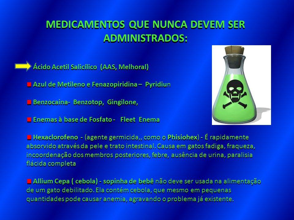 feito em MEDICAMENTOS QUE NUNCA DEVEM SER ADMINISTRADOS: Ácido Acetil Salicílico (AAS, Melhoral) Ácido Acetil Salicílico (AAS, Melhoral) Azul de Metil