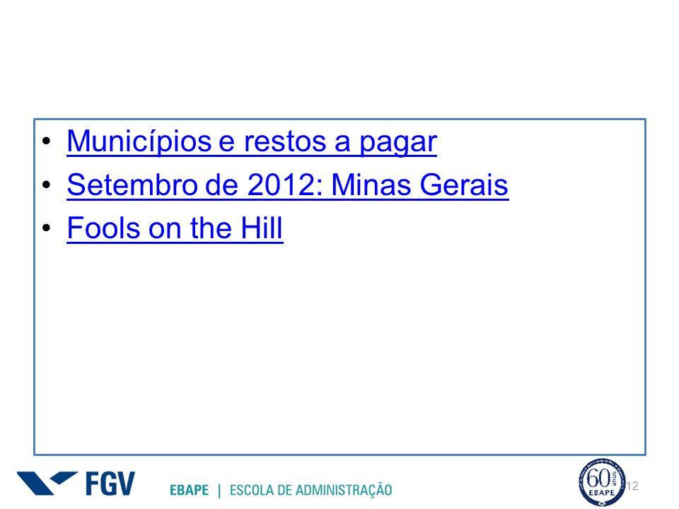 Municípios e restos a pagar Setembro de 2012: Minas Gerais Fools on the Hill 12