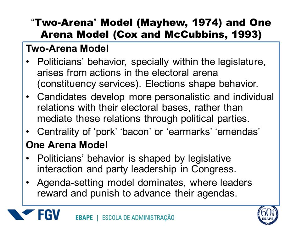 Two-Arena Model (Mayhew, 1974) and One Arena Model (Cox and McCubbins, 1993) Two-Arena Model Politicians behavior, specially within the legislature, a