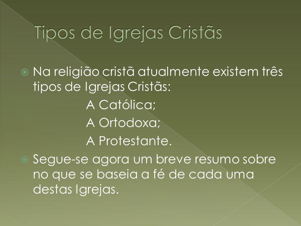 Na religião cristã atualmente existem três tipos de Igrejas Cristãs: A Católica; A Ortodoxa; A Protestante. Segue-se agora um breve resumo sobre no qu