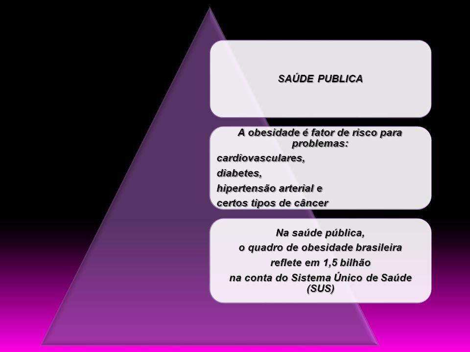 SAÚDE PUBLICA A obesidade é fator de risco para problemas: cardiovasculares,diabetes, hipertensão arterial e certos tipos de câncer Na saúde pública,