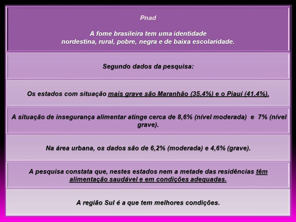 Pnad A fome brasileira tem uma identidade nordestina, rural, pobre, negra e de baixa escolaridade. Segundo dados da pesquisa: Os estados com situação