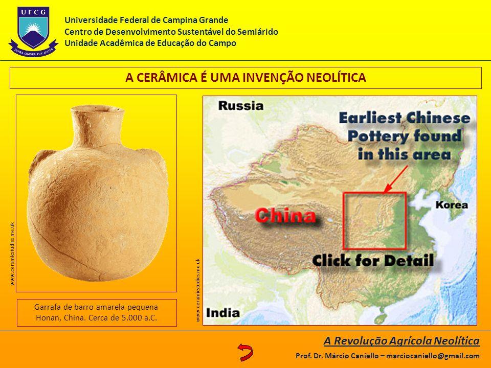 A CERÂMICA É UMA INVENÇÃO NEOLÍTICA Garrafa de barro amarela pequena Honan, China. Cerca de 5.000 a.C. www.ceramicstudies.me.uk A Revolução Agrícola N