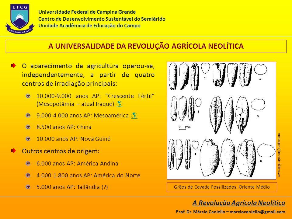 A UNIVERSALIDADE DA REVOLUÇÃO AGRÍCOLA NEOLÍTICA O aparecimento da agricultura operou-se, independentemente, a partir de quatro centros de irradiação