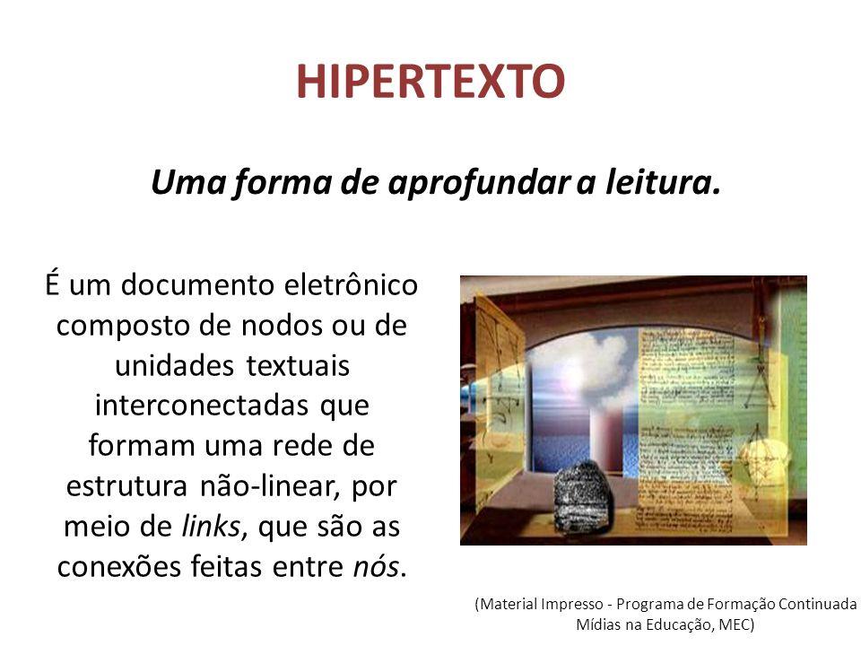 HIPERTEXTO Uma forma de aprofundar a leitura. É um documento eletrônico composto de nodos ou de unidades textuais interconectadas que formam uma rede