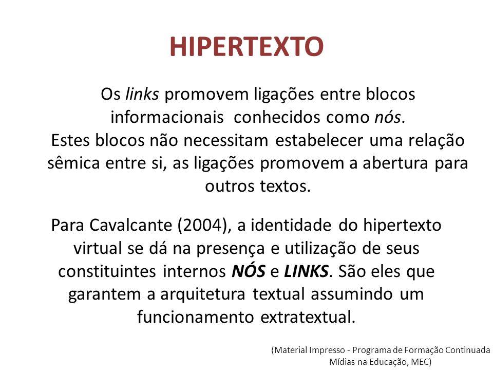 HIPERTEXTO Para Cavalcante (2004), a identidade do hipertexto virtual se dá na presença e utilização de seus constituintes internos NÓS e LINKS. São e