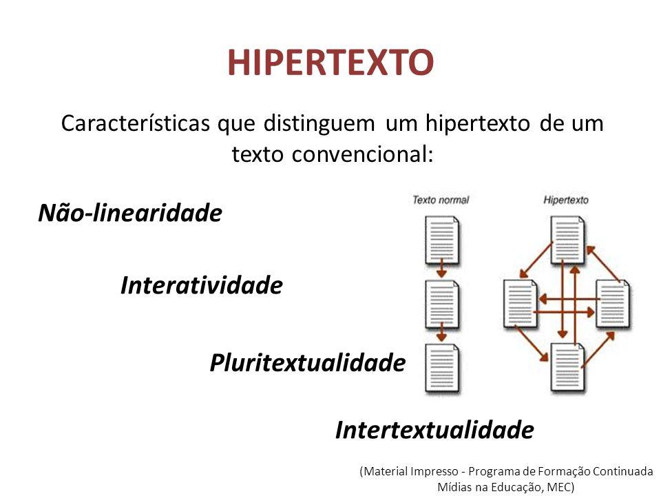 HIPERTEXTO Características que distinguem um hipertexto de um texto convencional: Não-linearidade Interatividade Pluritextualidade Intertextualidade (