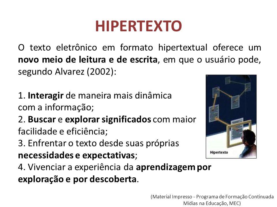 HIPERTEXTO O texto eletrônico em formato hipertextual oferece um novo meio de leitura e de escrita, em que o usuário pode, segundo Alvarez (2002): 1.