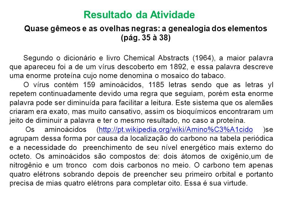 Resultado da Atividade Quase gêmeos e as ovelhas negras: a genealogia dos elementos (pág. 35 à 38) Segundo o dicionário e livro Chemical Abstracts (19