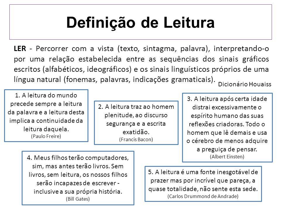 Definição de Leitura LER - Percorrer com a vista (texto, sintagma, palavra), interpretando-o por uma relação estabelecida entre as sequências dos sina