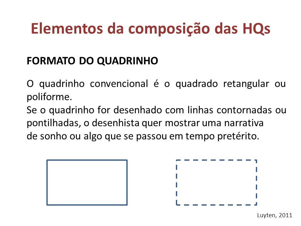 FORMATO DO QUADRINHO Elementos da composição das HQs O quadrinho convencional é o quadrado retangular ou poliforme. Se o quadrinho for desenhado com l