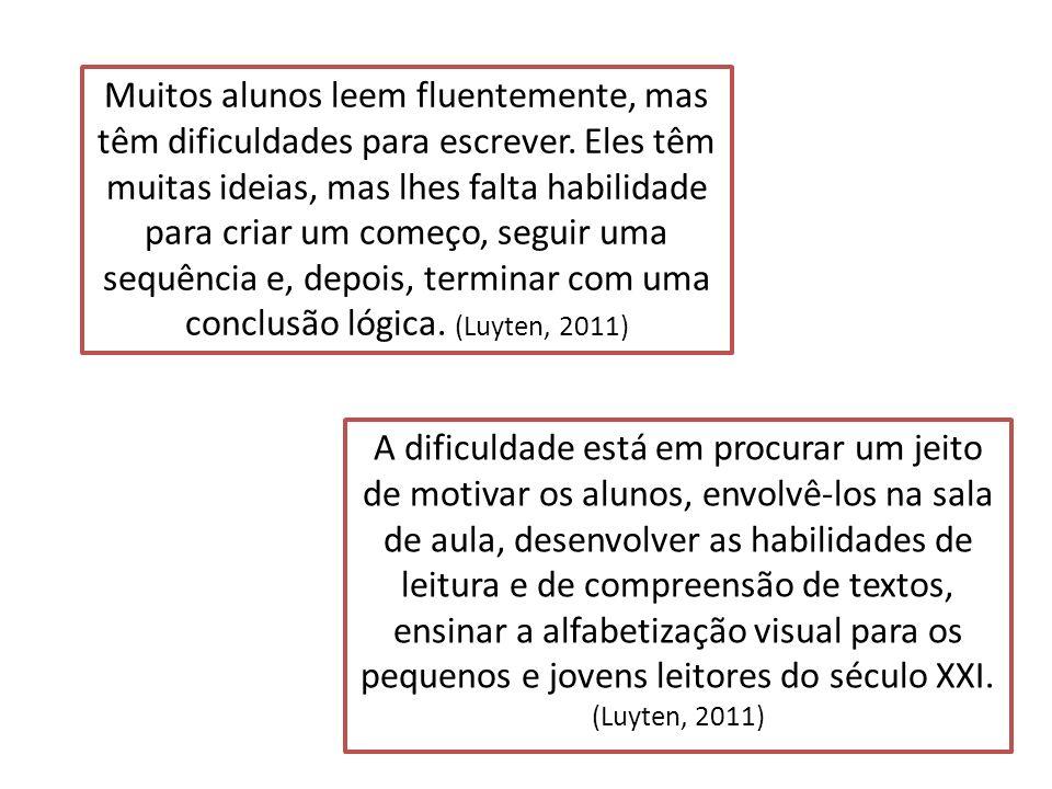 Muitos alunos leem fluentemente, mas têm dificuldades para escrever. Eles têm muitas ideias, mas lhes falta habilidade para criar um começo, seguir um