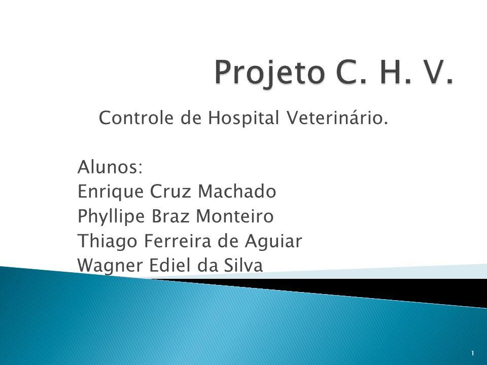 Controle de Hospital Veterinário. Alunos: Enrique Cruz Machado Phyllipe Braz Monteiro Thiago Ferreira de Aguiar Wagner Ediel da Silva 1