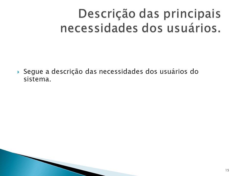 Segue a descrição das necessidades dos usuários do sistema. 15