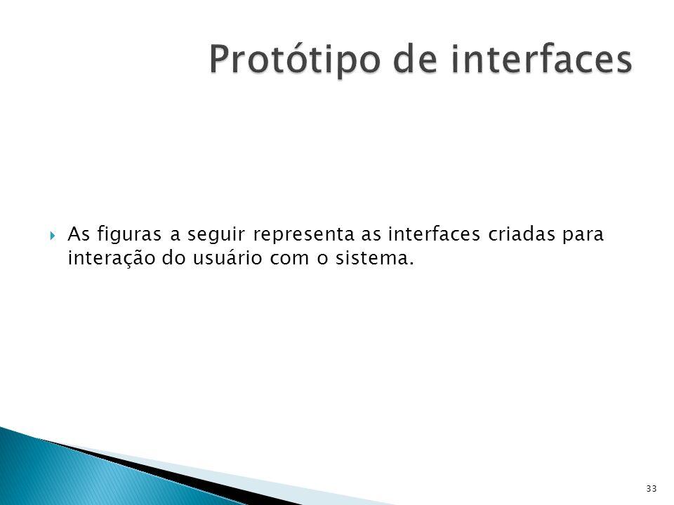 As figuras a seguir representa as interfaces criadas para interação do usuário com o sistema. 33