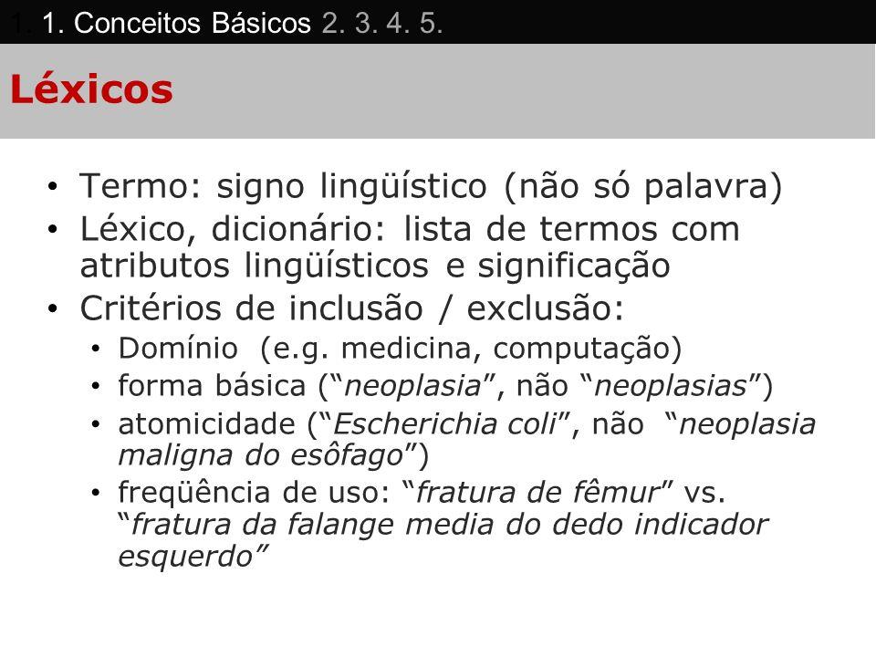 Léxicos Termo: signo lingüístico (não só palavra) Léxico, dicionário: lista de termos com atributos lingüísticos e significação Critérios de inclusão