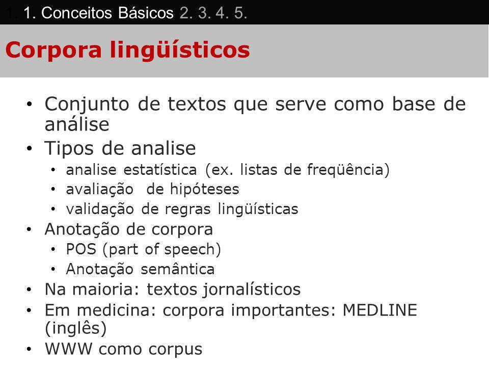 Corpora lingüísticos Conjunto de textos que serve como base de análise Tipos de analise analise estatística (ex. listas de freqüência) avaliação de hi