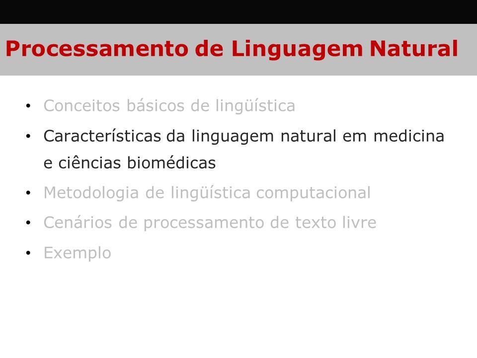 Processamento de Linguagem Natural Conceitos básicos de lingüística Características da linguagem natural em medicina e ciências biomédicas Metodologia