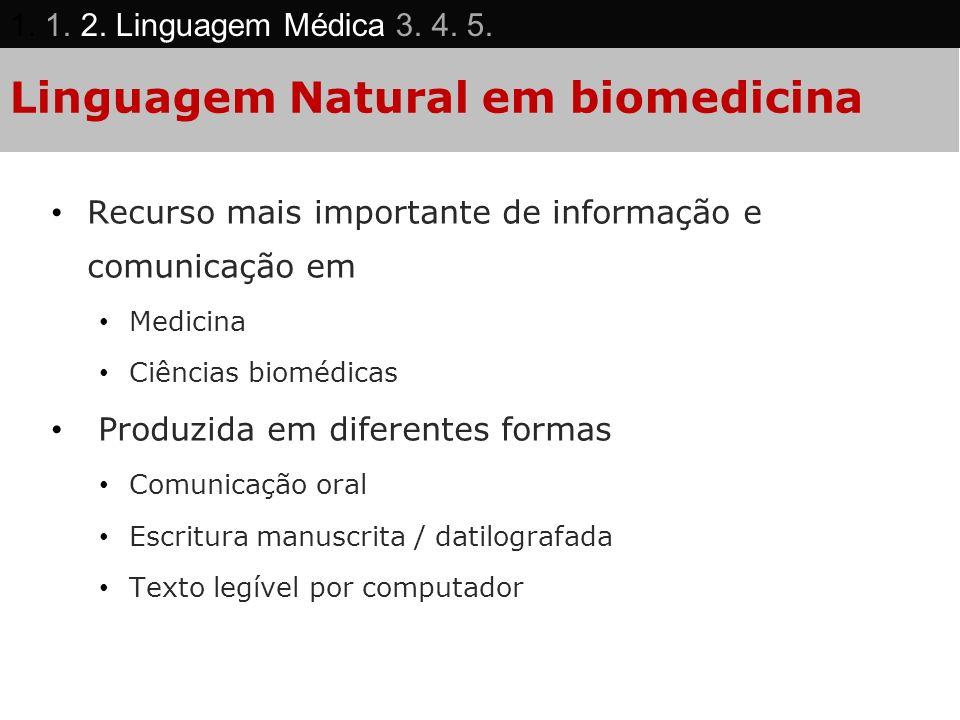 Linguagem Natural em biomedicina Recurso mais importante de informação e comunicação em Medicina Ciências biomédicas Produzida em diferentes formas Co