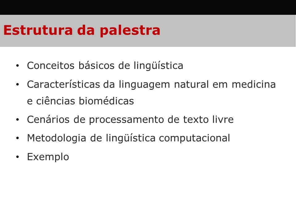 Estrutura da palestra Conceitos básicos de lingüística Características da linguagem natural em medicina e ciências biomédicas Cenários de processament