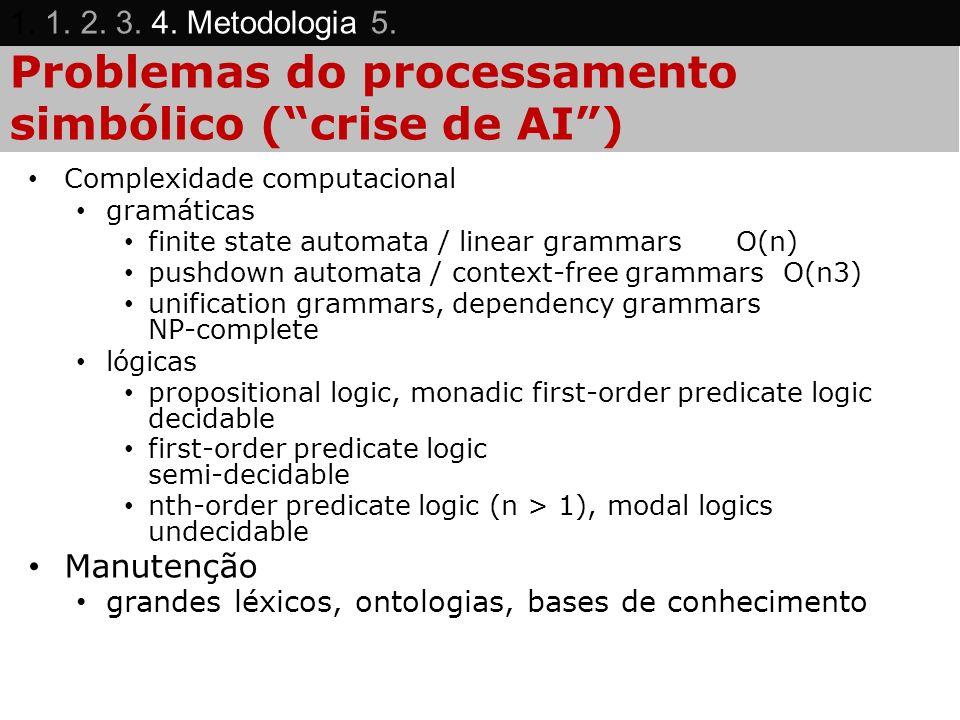 Problemas do processamento simbólico (crise de AI) Complexidade computacional gramáticas finite state automata / linear grammarsO(n) pushdown automata