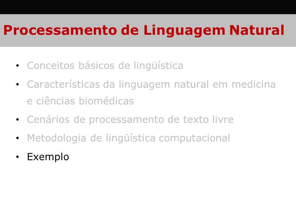 Processamento de Linguagem Natural Conceitos básicos de lingüística Características da linguagem natural em medicina e ciências biomédicas Cenários de