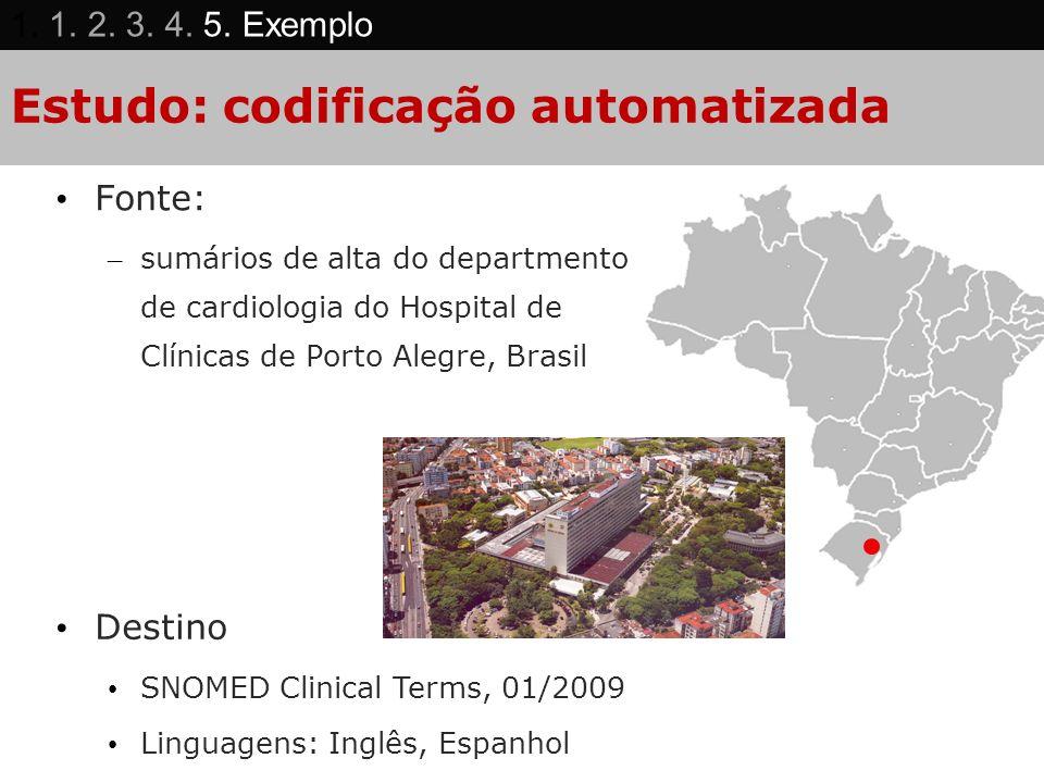 Estudo: codificação automatizada Fonte: – sumários de alta do departmento de cardiologia do Hospital de Clínicas de Porto Alegre, Brasil Destino SNOME
