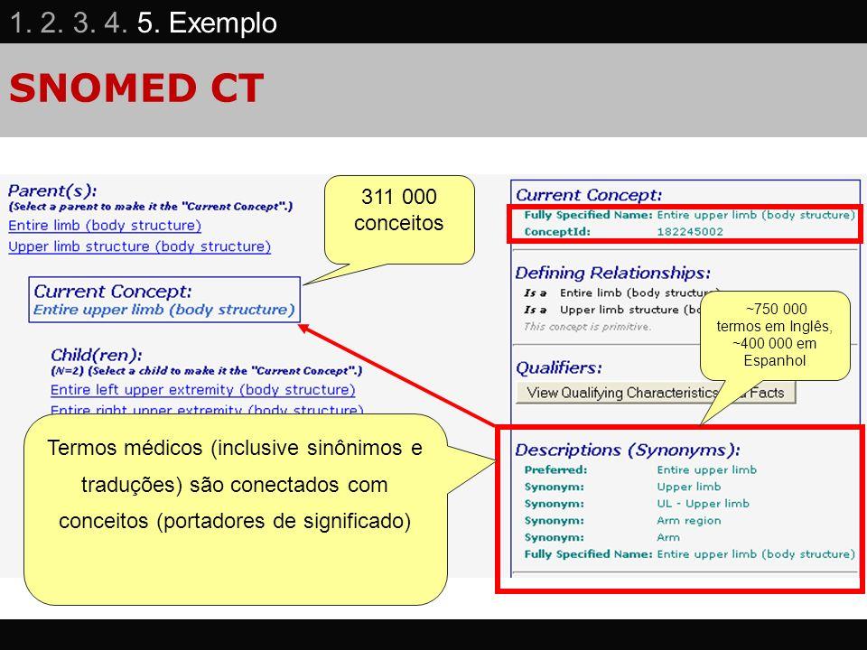 SNOMED CT Termos médicos (inclusive sinônimos e traduções) são conectados com conceitos (portadores de significado) 311 000 conceitos ~750 000 termos