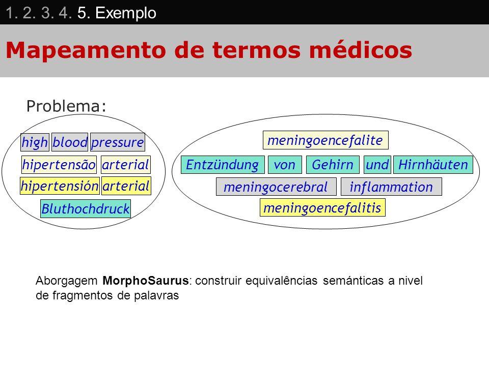 Mapeamento de termos médicos Problema: high bloodpressure hipertensãoarterial meningoencefalite Bluthochdruck EntzündungvonHirnhäutenGehirnund meningo