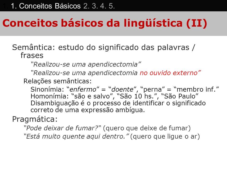 Conceitos básicos da lingüística (II) Semântica: estudo do significado das palavras / frases Realizou-se uma apendicectomia Realizou-se uma apendicect
