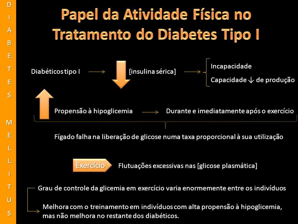 [insulina sérica]Diabéticos tipo I Incapacidade Capacidade de produção Propensão à hipoglicemiaDurante e imediatamente após o exercício Fígado falha n