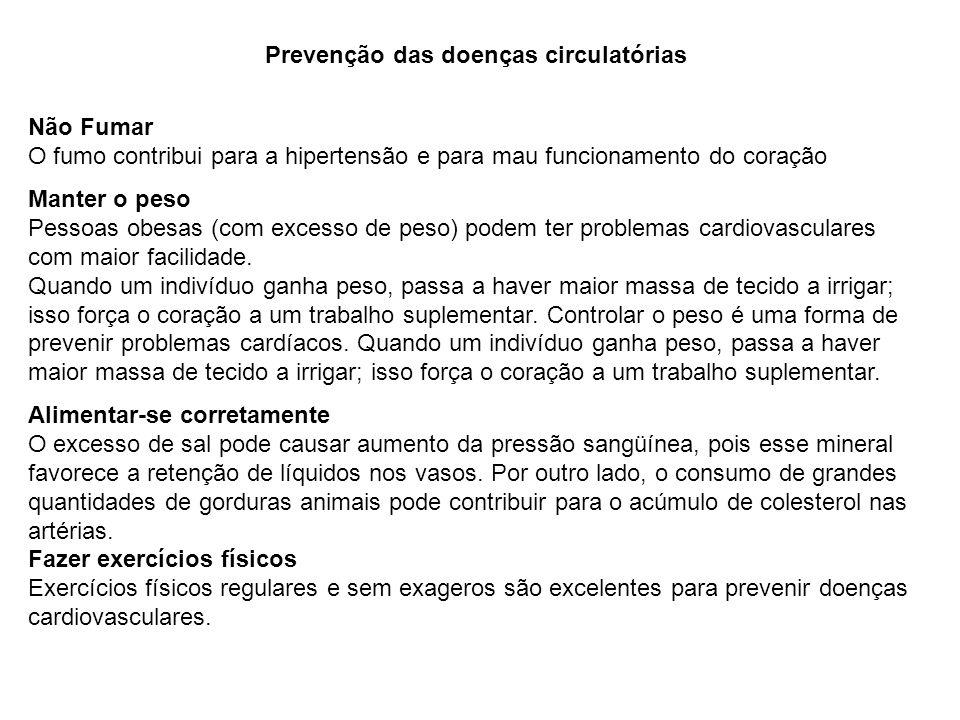 Prevenção das doenças circulatórias Não Fumar O fumo contribui para a hipertensão e para mau funcionamento do coração Manter o peso Pessoas obesas (co