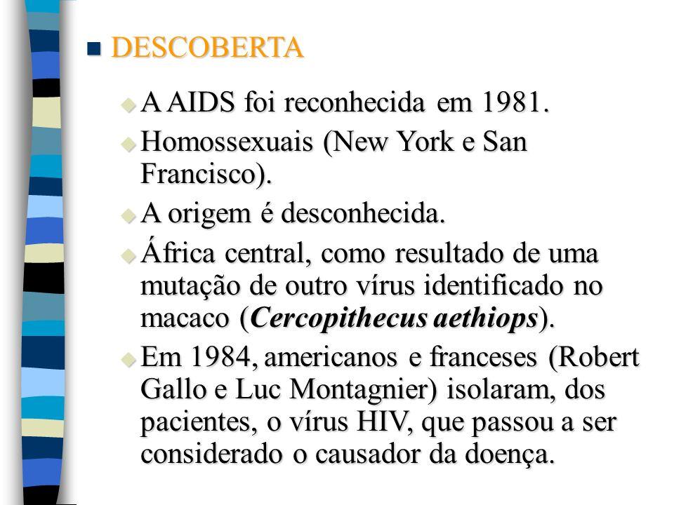 DESCOBERTA DESCOBERTA A AIDS foi reconhecida em 1981. A AIDS foi reconhecida em 1981. Homossexuais (New York e San Francisco). Homossexuais (New York
