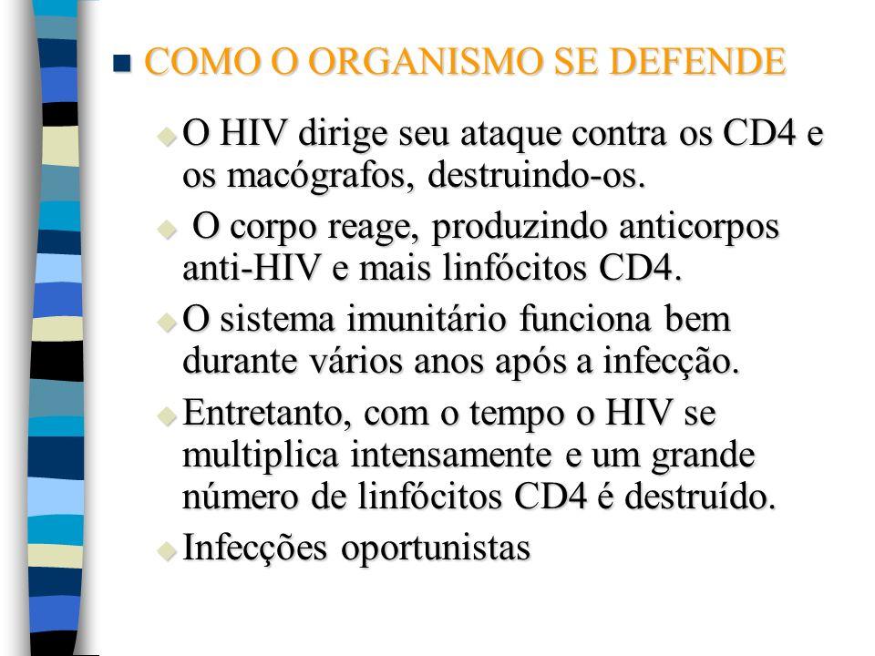 COMO O ORGANISMO SE DEFENDE COMO O ORGANISMO SE DEFENDE O HIV dirige seu ataque contra os CD4 e os macógrafos, destruindo-os. O HIV dirige seu ataque