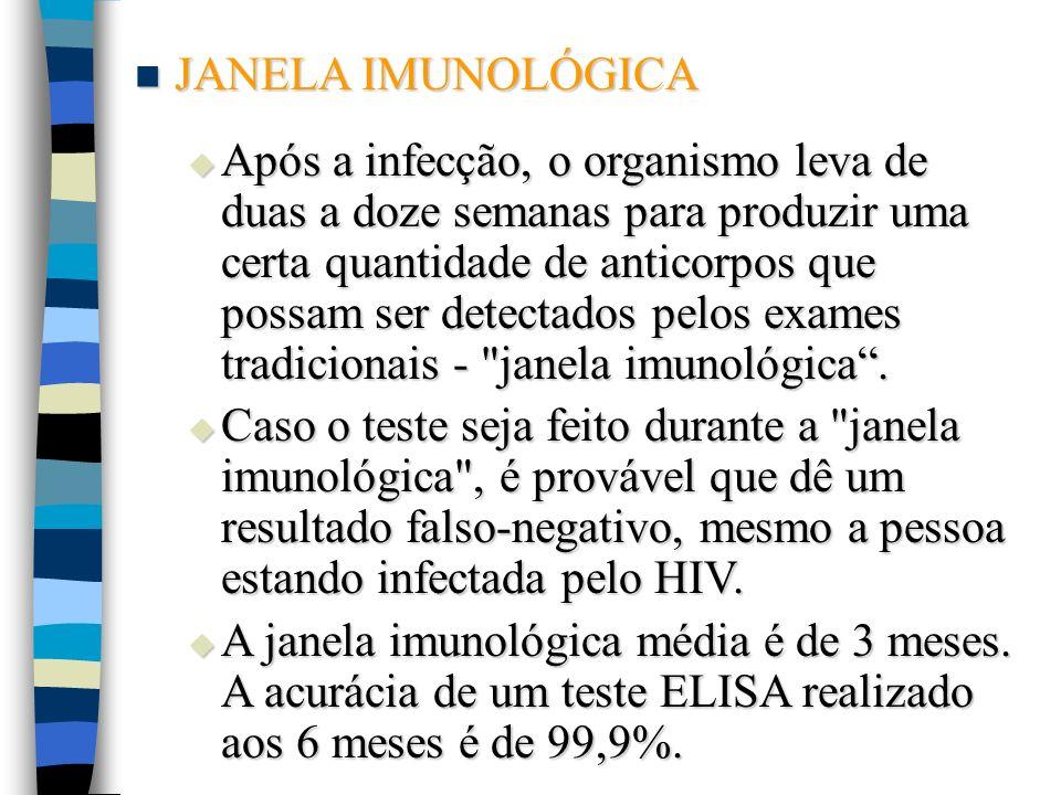 JANELA IMUNOLÓGICA JANELA IMUNOLÓGICA Após a infecção, o organismo leva de duas a doze semanas para produzir uma certa quantidade de anticorpos que po