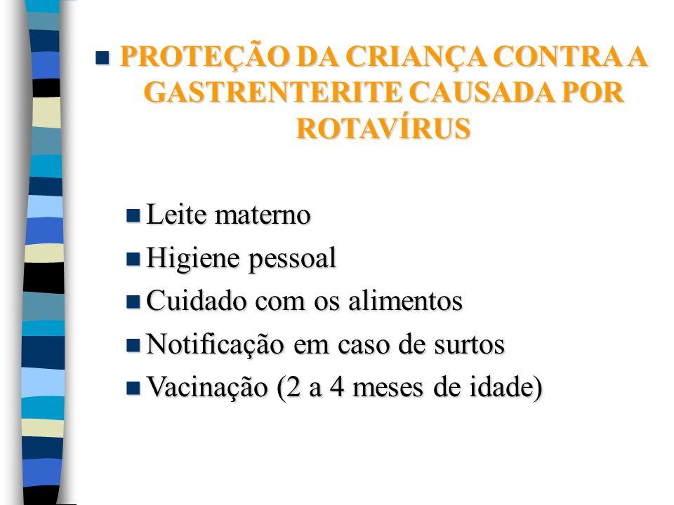 PROTEÇÃO DA CRIANÇA CONTRA A GASTRENTERITE CAUSADA POR ROTAVÍRUS PROTEÇÃO DA CRIANÇA CONTRA A GASTRENTERITE CAUSADA POR ROTAVÍRUS Leite materno Leite