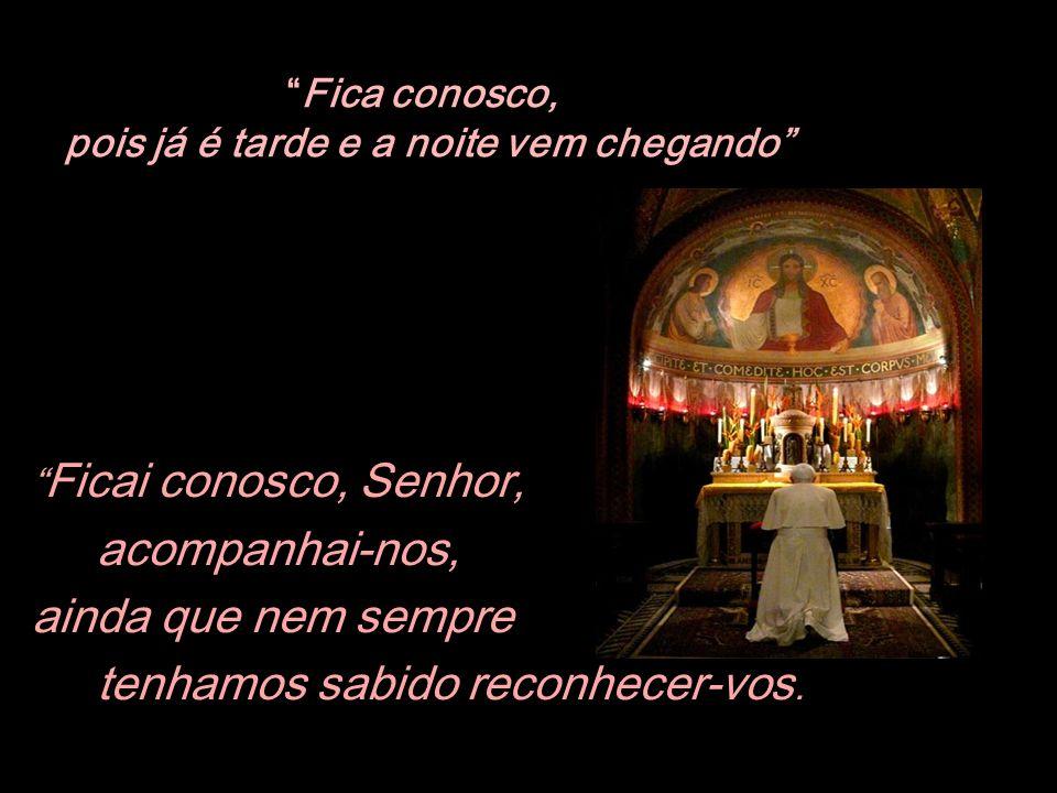 Amado irmão, amada irmã, vamos unir nosso coração ao de Bento XVI e pedir com ele a Jesus para vir ficar conosco nos difíceis caminhos deste mundo.
