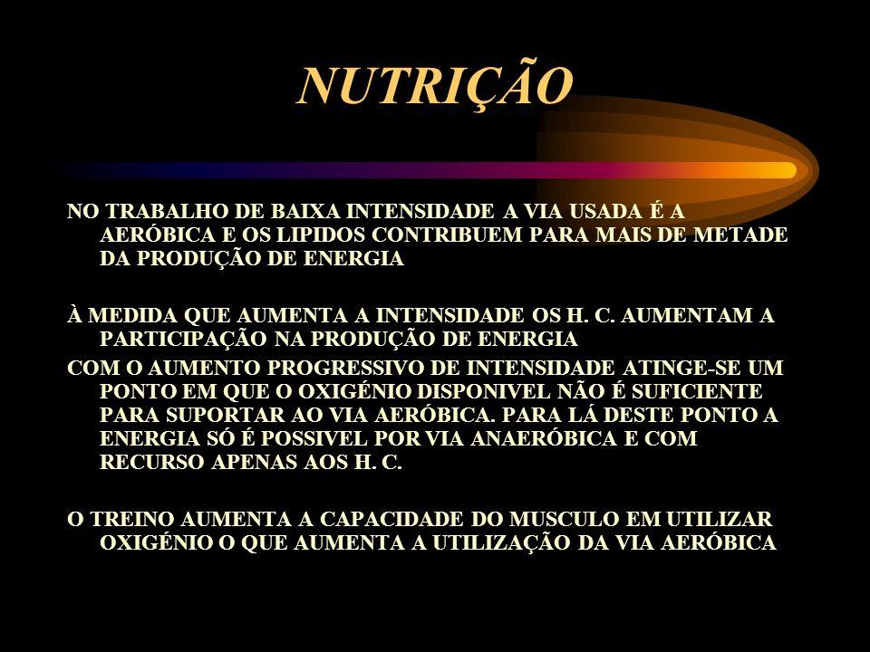 NUTRIÇÃO A ENERGIA É FORNECIDA PELOS HIDRATOS DE CARBONO E PELOS LIPIDOS O OXIGÉNIO É USADO PARA METABOLIZAR OS H. C. E OS LIPIDOS COM VISTA A CONSEGU