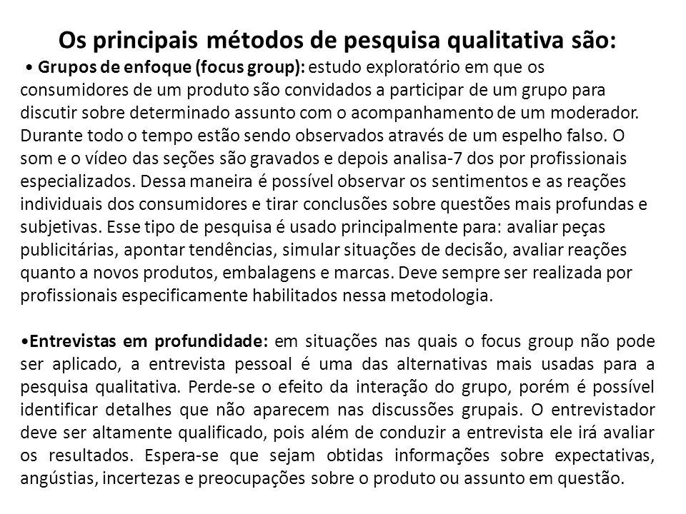 Os principais métodos de pesquisa qualitativa são: Grupos de enfoque (focus group): estudo exploratório em que os consumidores de um produto são convi