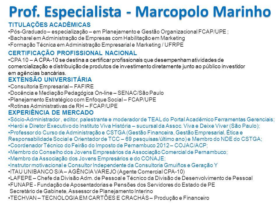 TITULAÇÕES ACADÊMICAS Pós-Graduado – especialização – em Planejamento e Gestão Organizacional FCAP/UPE ; Bacharel em Administração de Empresas com Hab