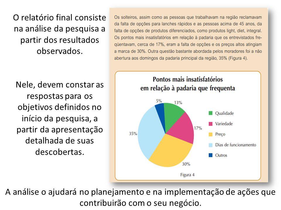 O relatório final consiste na análise da pesquisa a partir dos resultados observados. Nele, devem constar as respostas para os objetivos definidos no