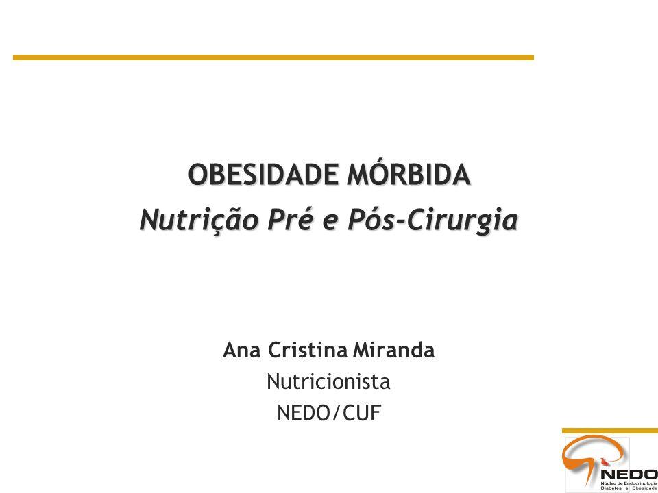 OBESIDADE MÓRBIDA Nutrição Pré e Pós-Cirurgia Ana Cristina Miranda Nutricionista NEDO/CUF