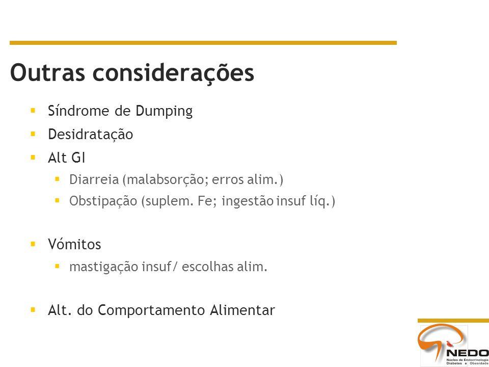 Outras considerações Síndrome de Dumping Desidratação Alt GI Diarreia (malabsorção; erros alim.) Obstipação (suplem. Fe; ingestão insuf líq.) Vómitos