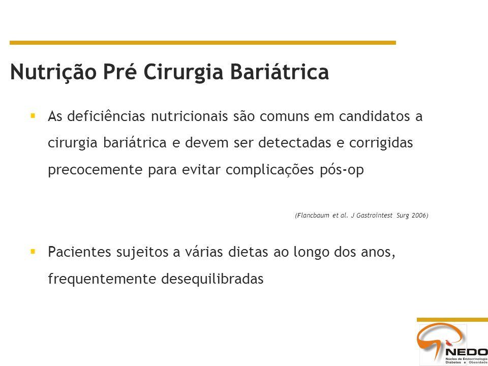 As deficiências nutricionais são comuns em candidatos a cirurgia bariátrica e devem ser detectadas e corrigidas precocemente para evitar complicações pós-op Pacientes sujeitos a várias dietas ao longo dos anos, frequentemente desequilibradas (Flancbaum et al.