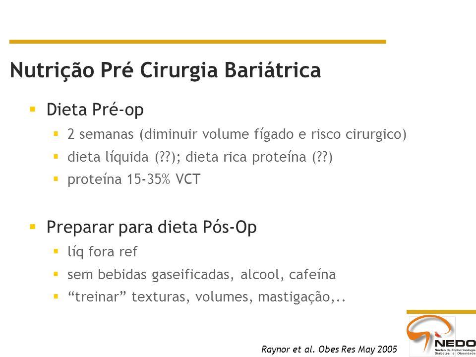 Dieta Pré-op 2 semanas (diminuir volume fígado e risco cirurgico) dieta líquida (??); dieta rica proteína (??) proteína 15-35% VCT Preparar para dieta