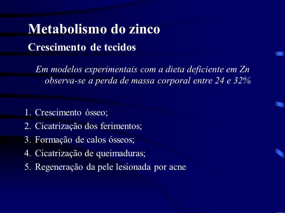 Metabolismo do zinco Crescimento do organismo 1.Hormônio de crescimento (produzido na hipófise; necessita a presença de altas concentrações do zinco);